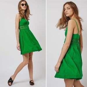 Topshop Crochet Detail Sundress Green V Neck